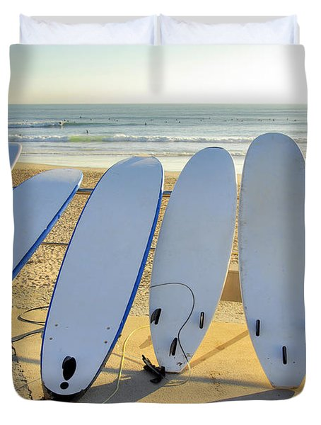 Seven Surfboards Duvet Cover by Carlos Caetano