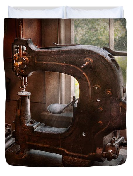 Sewing Machine - Leather - Saddle Sewer Duvet Cover by Mike Savad