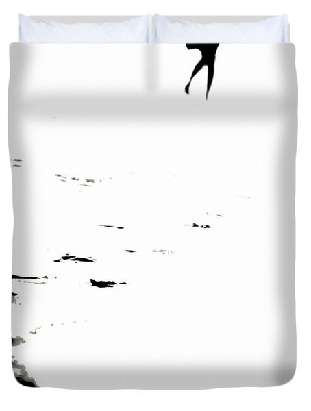 Shadow Footprints Of My Past Duvet Cover by Jenny Rainbow