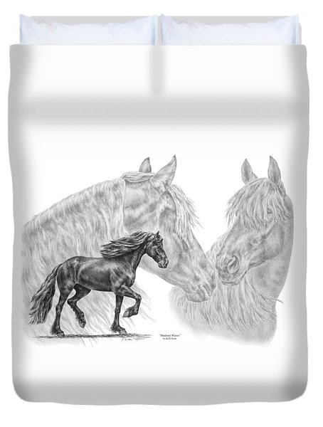 Shadowy Waves - Friesian Horses Art Print Duvet Cover