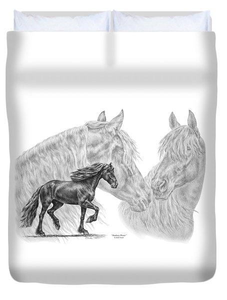 Shadowy Waves - Friesian Horses Art Print Duvet Cover