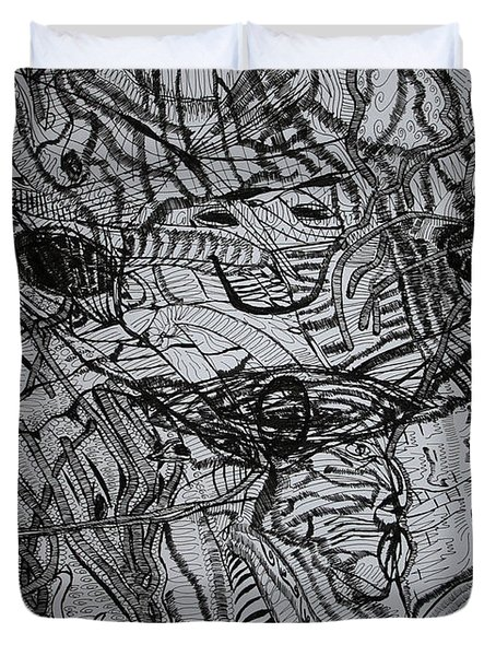 Duvet Cover featuring the drawing Shango by Gloria Ssali