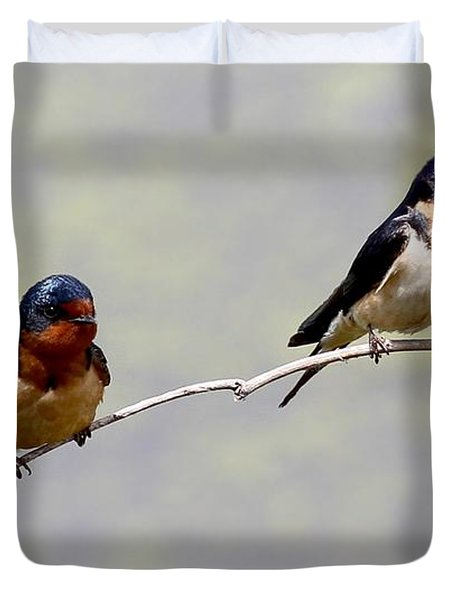 Duvet Cover featuring the photograph Sharing A Branch by Elizabeth Winter