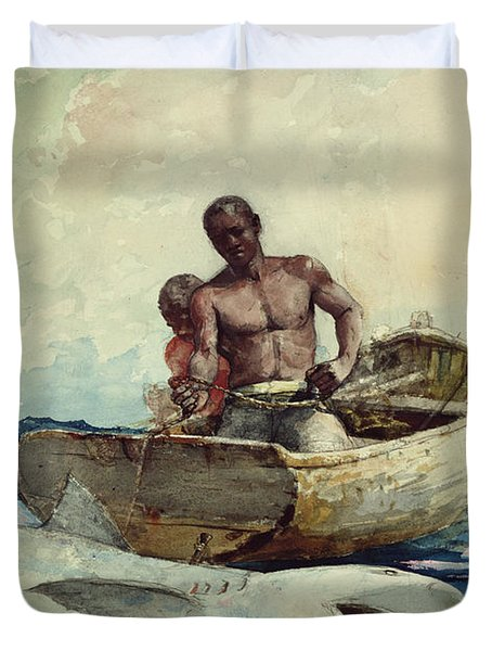 Shark Fishing Duvet Cover by Winslow Homer