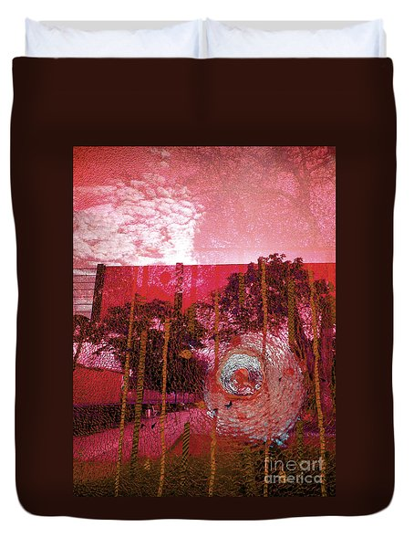 Duvet Cover featuring the photograph Abstract Shattered Glass Red by Andy Prendy