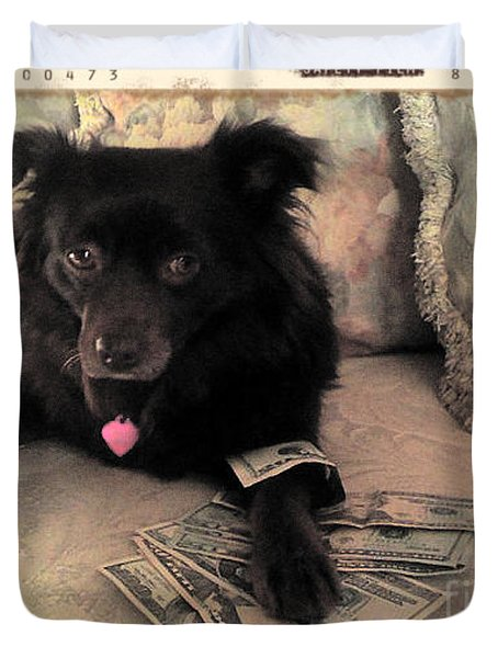 She Is In The Money Duvet Cover by Nina Prommer