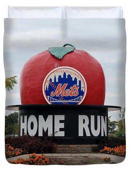 Shea Stadium Home Run Apple Duvet Cover by Rob Hans