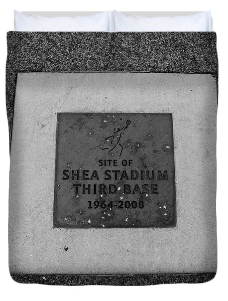 Shea Stadium Third Base In Black And White Duvet Cover by Rob Hans