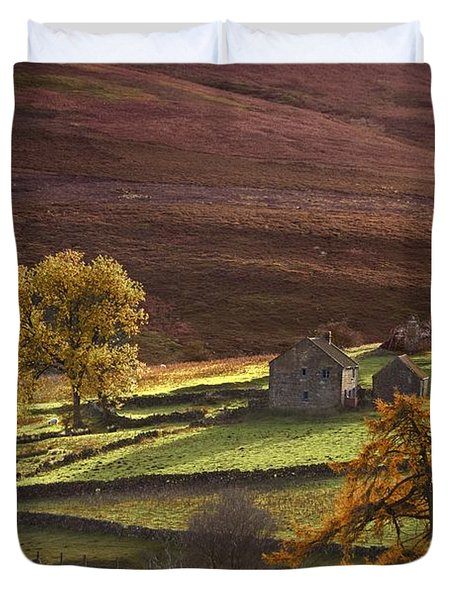 Sheep On A Hill, North Yorkshire Duvet Cover by John Short