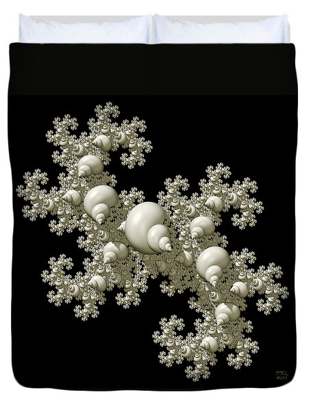 Shell Dragon Fractal Form Duvet Cover by Manny Lorenzo