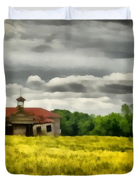 Duvet Cover featuring the painting Shiloh School by Lynne Jenkins