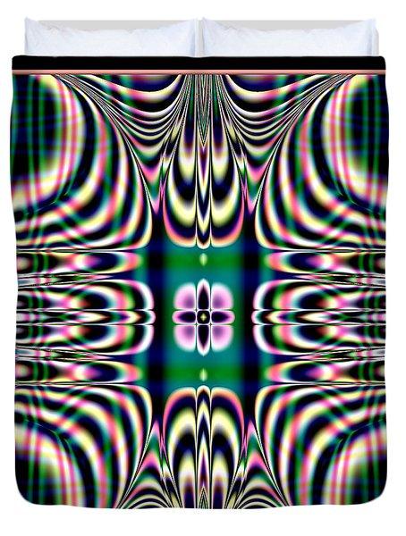 Shimmering Plaid Fractal 66 Duvet Cover by Rose Santuci-Sofranko