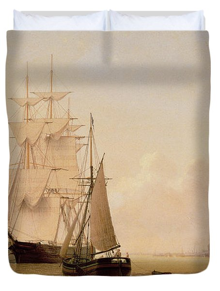 Ship Painting Duvet Cover by WF Settle