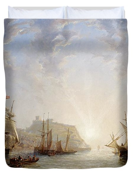 Shipping Off Scarborough Duvet Cover by John Wilson Carmichael