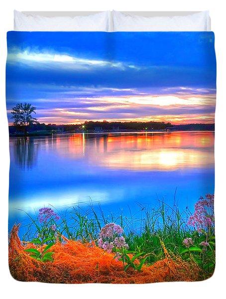 Duvet Cover featuring the photograph Shoreline Sundown by Randall Branham
