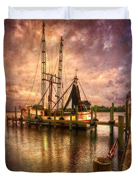 Shrimp Boat At Sunset II Duvet Cover by Debra and Dave Vanderlaan