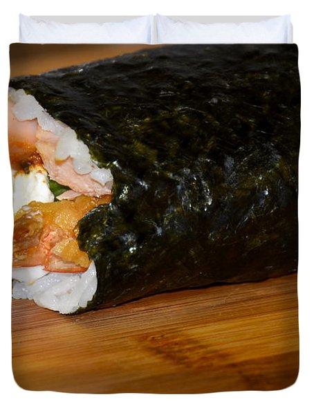 Shrimp Sushi Roll On Cutting Board Duvet Cover by Carolyn Marshall