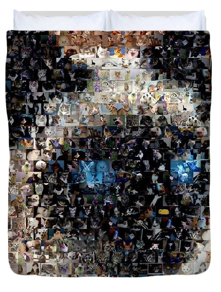 Siamese Cat Mosaic Duvet Cover by Paul Van Scott
