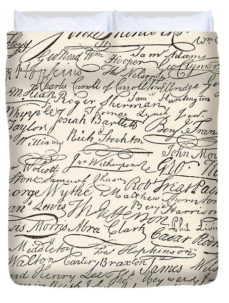 Signatures Attached To The American Declaration Of Independence Of 1776 Duvet Cover by Founding Fathers