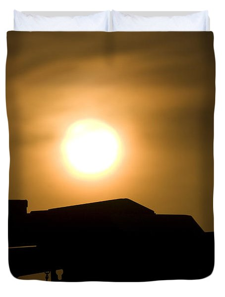 Silhouette Of A Mk 19 Automatic Grenade Duvet Cover