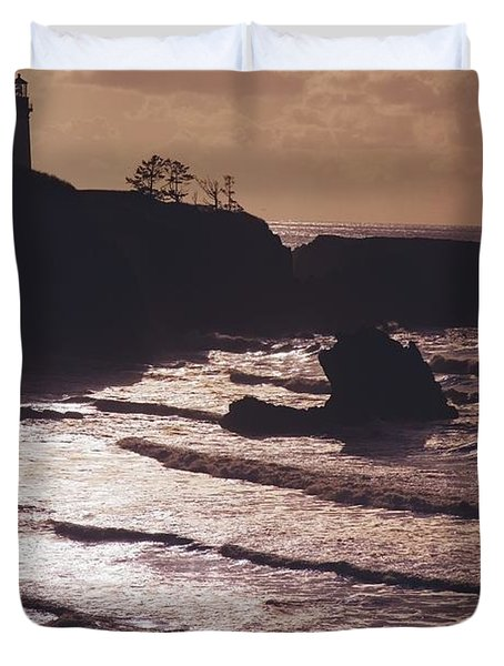 Silhouette Of Lighthouse Duvet Cover by Craig Tuttle