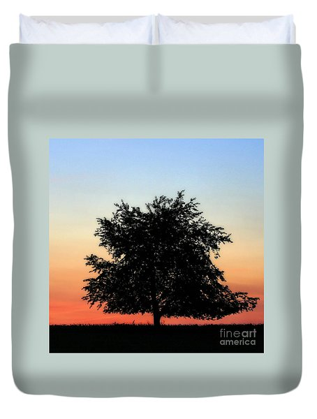 Make People Happy  Square Photograph Of Tree Silhouette Against A Colorful Summer Sky Duvet Cover