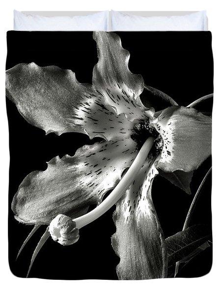 Silk Flower In Black And White Duvet Cover