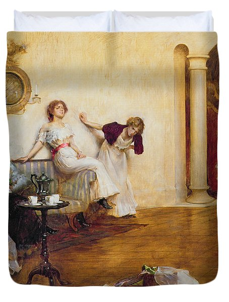 Silks And Satins Duvet Cover by Albert Chevallier Tayler