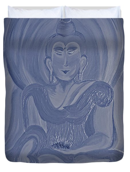 Silver Buddha Duvet Cover by First Star Art