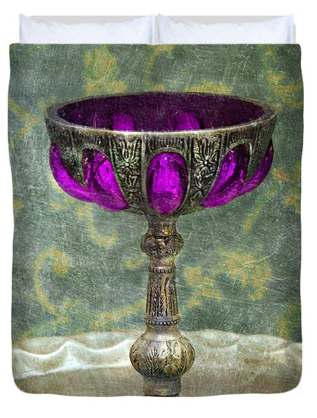 Silver Chalice With Jewels Duvet Cover by Jill Battaglia