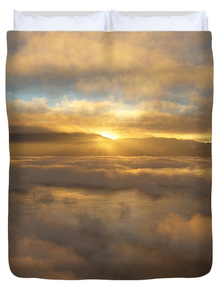 Silver Lake Sunrise Duvet Cover by Mark Greenberg