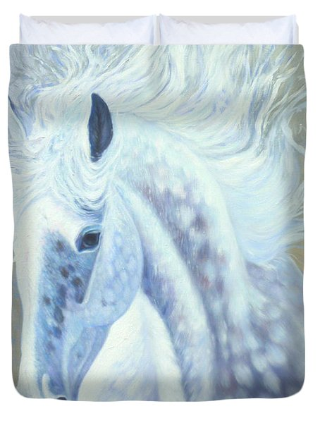 Silver Mare Duvet Cover by Gill Bustamante