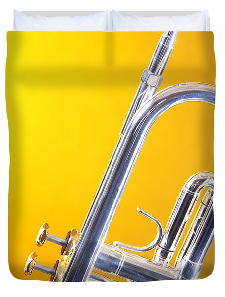 Silver Trumpet Isolated On Yellow Duvet Cover