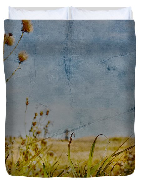 Singing In The Grass Duvet Cover by Empty Wall