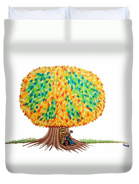 Singing Under The Peace Tree Duvet Cover by Nick Gustafson