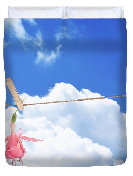 Single Fuchsia Head Duvet Cover by Amanda Elwell