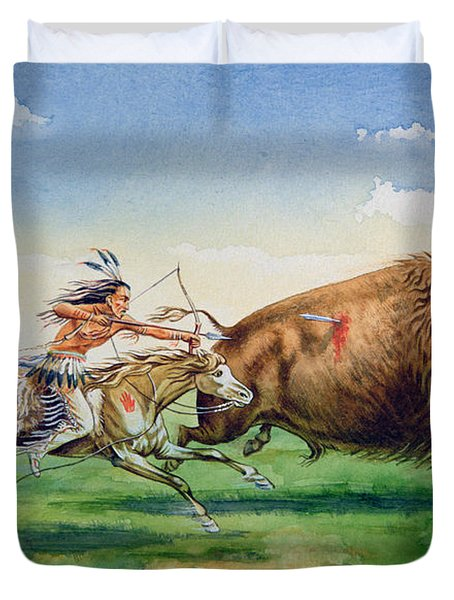 Sioux Hunting Buffalo On Decorated Pony Duvet Cover by American School