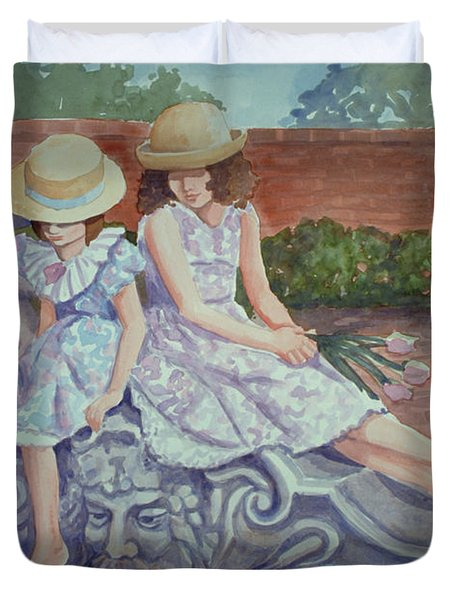 Sisters At The Fountain Duvet Cover
