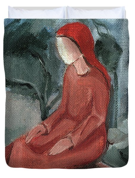 Sitting Ginger Red Hair Woman With Brown Dress Chair Green Gray Blue Background Tree In Large Stain  Duvet Cover by Rachel Hershkovitz