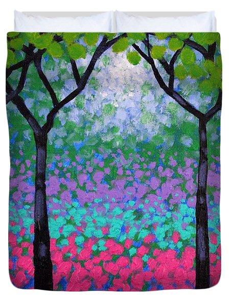 Six Trees Duvet Cover by John  Nolan