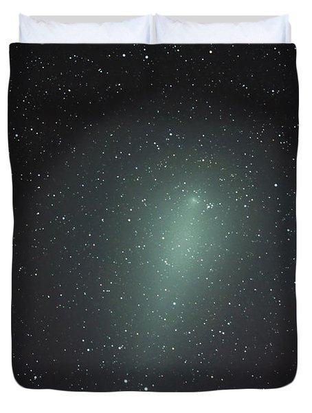 Size Of Comet Holmes In Comparison Duvet Cover by Rolf Geissinger