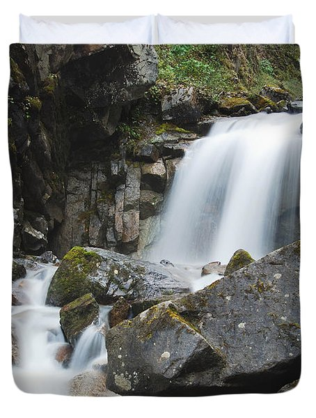 Skagway Waterfall 8619 Duvet Cover by Michael Peychich