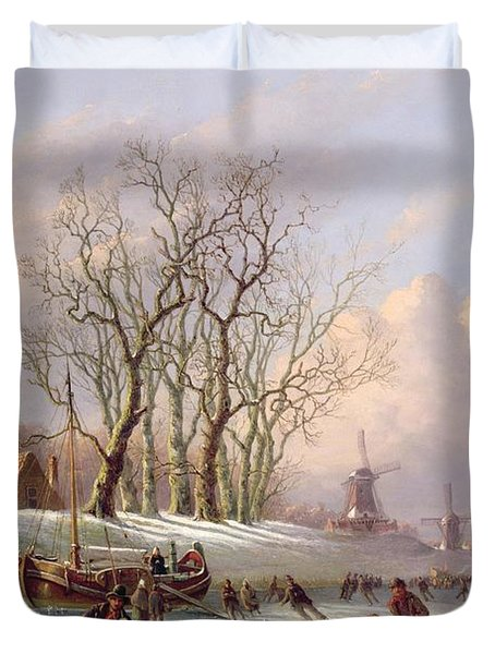 Skaters On A Frozen River Before Windmills Duvet Cover by Dutch School