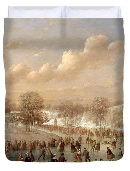 Skating Scene Duvet Cover by Johann Mongels Culverhouse