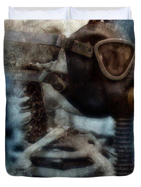 Skeleton In Gas Mask Duvet Cover by Jill Battaglia