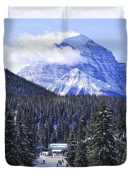 Skiing In Mountains Duvet Cover by Elena Elisseeva