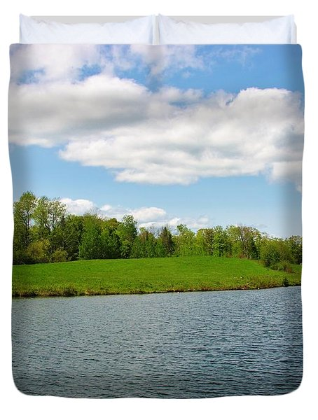 Duvet Cover featuring the photograph Sky And Water Almost Meet by Sherman Perry