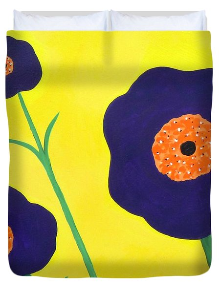 Duvet Cover featuring the painting Sky High Flowers by Alys Caviness-Gober