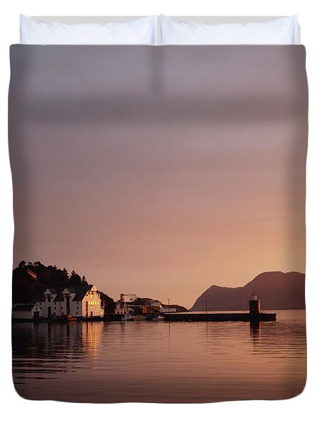 Skyline Of Town At Dusk Duvet Cover by Axiom Photographic