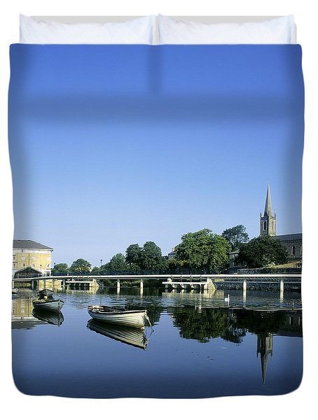 Skyline Over The River Garavogue, Sligo Duvet Cover by The Irish Image Collection